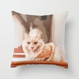 Brown Tan Feline Cat Sitting On Stair Throw Pillow