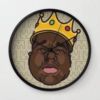 notorious big Wall Clocks featuring Notorious by DollarsandCents