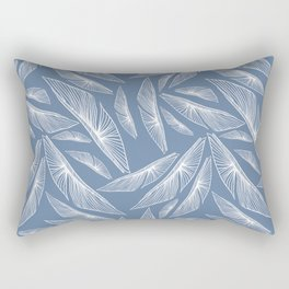Feathered Leaf Pattern in Blue Rectangular Pillow