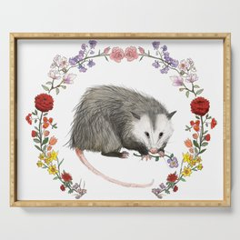 Opossum in Floral Wreath Serving Tray