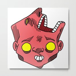 two faced morphed head Metal Print