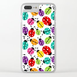 Lots of Crayon Colored Ladybugs Clear iPhone Case