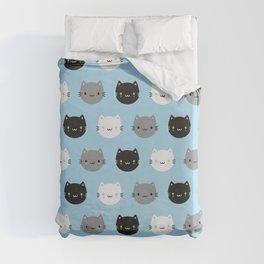 Cute Cats & Kawaii Kittens (Blue) Duvet Cover