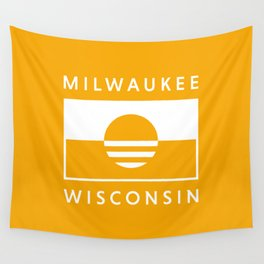 Milwaukee Wisconsin - Gold - People's Flag of Milwaukee Wall Tapestry