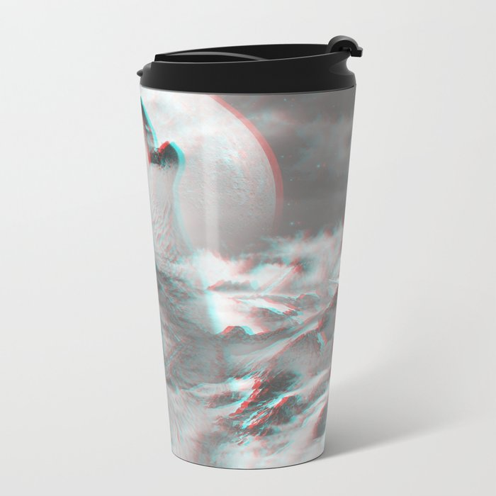 Maybe the Wolf Is In Love with the Moon v.2 (3D Effect) Metal Travel Mug