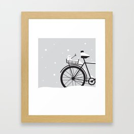 Bicycle & snow Framed Art Print