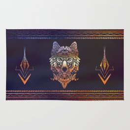 Tribal Wolf Paint Translucent Rug