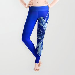 White Bloom on Blue Leggings