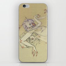 The lady and the wild cat. iPhone Skin