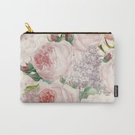Vintage Roses and Lilacs Pattern - Smelling Dreams Carry-All Pouch