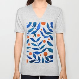 Watercolor berries and branches - blue and orange Unisex V-Neck