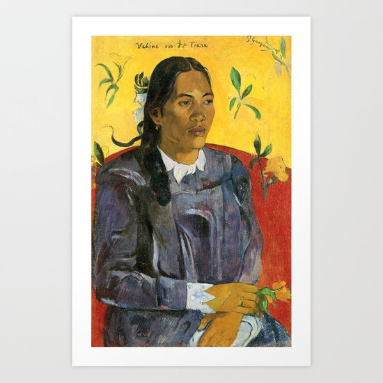 Tahitian Woman with a Flower by Paul Gauguin by palazzoartgallery