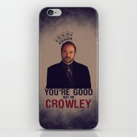 crowley iPhone & iPod Skins featuring I'm Crowley - Supernatural by KanaHyde