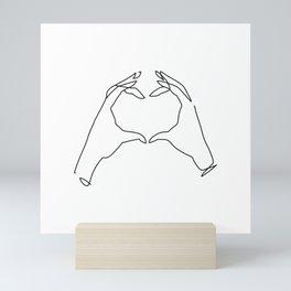 ONELINE HEART HANDS Mini Art Print