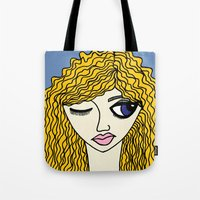 sassy Tote Bags featuring Sassy by Kurit Mikay