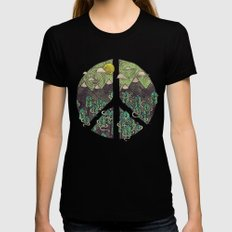 Peaceful Landscape Womens Fitted Tee SMALL Black