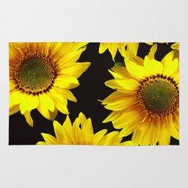 Large Sunflowers on a black background - #Society6 #buyart Rug
