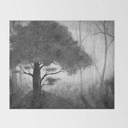 The Dark Forest (B&W) Throw Blanket