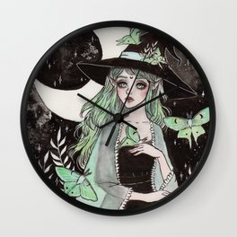 Luna moth witch Wall Clock