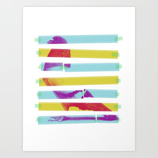 Striped Bird. Art Print