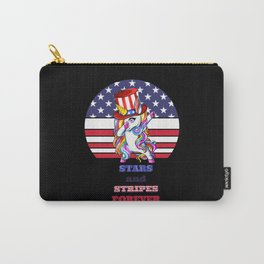Patriotic unicorn girl with stars and stripes USA Carry-All Pouch