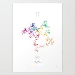 The Art in Pi - 100,000 digits walk Art Print