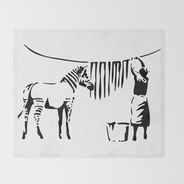 Banksy, A Woman Washing Zebra Stripes Artwork Reproduction, Posters, Tshirts, Prints Throw Blanket