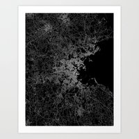boston map Art Prints featuring Boston map by Line Line Lines