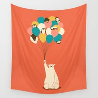 penguin Wall Tapestries featuring Penguin Bouquet by Jay Fleck