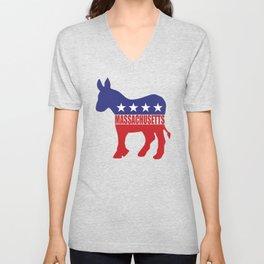 Massachusetts Democrat Donkey Unisex V-Neck