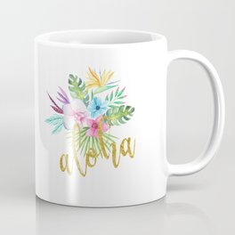 Hawaiian multicolored floral bouquet with faux gold aloha brush script Coffee Mug