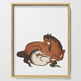 Hokusai – mare and foal, 葛飾 北斎,horse,caballo,equestrian,equine,yegua,potro,japan. Serving Tray