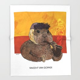 Vincent van Gopher Throw Blanket