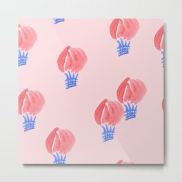 Air Balloon Pattern on Pale Pink Metal Print