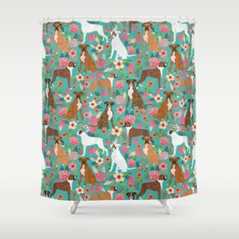 Boxer dog breed florals flower dog pattern gifts for pure breed lovers boxers Shower Curtain