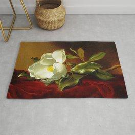 A White Magnolia on Red Velvet by Martin Johnson Head Rug