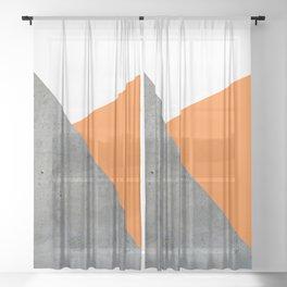 Concrete Tangerine White Sheer Curtain