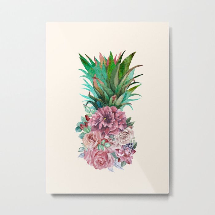 Floral Pineapple Metal Print