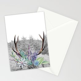 Floral Stag antlers b/w Stationery Cards