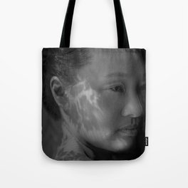 Black and White Portrait of a Beautiful Woman in Shadow Tote Bag