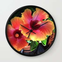 California Yellow Red Pink Hibiscus  Wall Clock