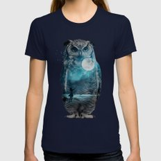 OWL / MOON BALLOON LARGE Navy Womens Fitted Tee