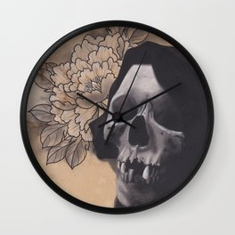 Realism Drawing of Reaper with Traditional Tattoo Styled Peony Wall Clock
