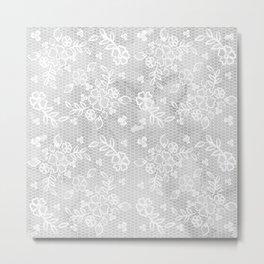 Beautiful Gray & White Floral Lace Pattern Metal Print