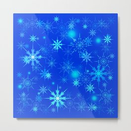 Pattern of luminous light blue snowflakes on a light background with bright highlights. Metal Print