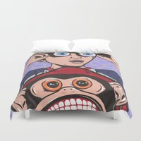 rock and roll Duvet Covers featuring Rock and Roll Martian by turddemon