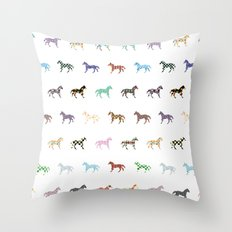 Colorful Horses Lantern Pattern  Throw Pillow