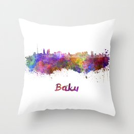 Baku skyline in watercolor Throw Pillow