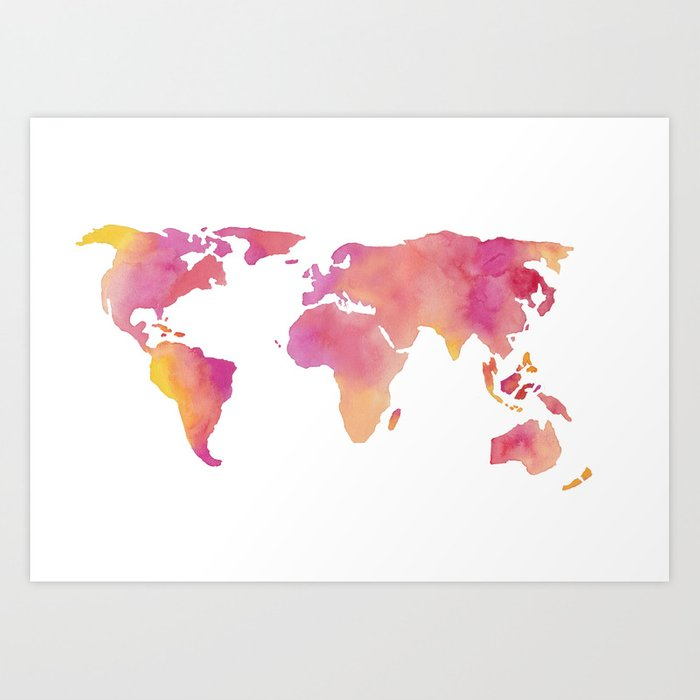World in technicolour Art Print