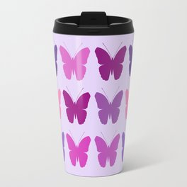 Butterly Silhouettes 3x3 Pinks Purples Mauves Travel Mug